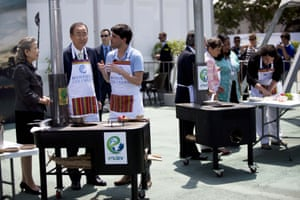 UN Secretary General Ban Ki-moon and his wife, Madam Yoo (Ban) Soon-taek, left, listen to Peruvian chef Virgilo Martinez during the presentation of ecological stoves at the UN Climate Change Conference in Lima, Peru, Wednesday, Dec. 10, 2014. Delegates from more than 190 countries are meeting in Lima, to work on drafts for a global climate deal that is supposed to be adopted next year in Paris.