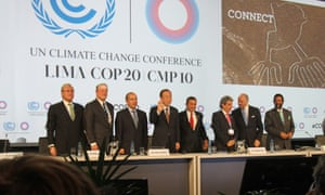 11 December 2014 The Lima Climate Action High-level Meeting begins in the company of (L-R): Minister of Foreign Affairs Gonzalo Gutierrez, Peru; former US Vice-President Al Gore; former President of Mexico Felipe Calder  n; UN Secretary-General Ban Ki-moon; President of Peru Ollanta Humala; COP 20/CMP 10 President Manuel Pulgar-Vidal, Peru; Minister of Foreign Affairs and International Development Laurent Fabius, France; and Intergovernmental Panel on Climate Change (IPCC) Chair Rajendra Pachauri