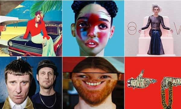 The Guardian's albums of 2014: (Clockwise from top left) La Roux's Trouble In Paradise; FKA twigs's LP1; St Vincent's St Vincent; Sleaford Mods's Divide and Exit; Aphex Twin's Syro; Run The Jewels's Run The Jewels 2