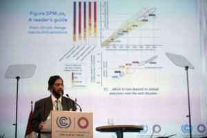 Nobel Peace Prize 2007 Indian Rajendra Pachauri, head of the UN panel of climate scientists, speaks during a high level meeting at UN COP20 and CMP10 climate change conferences being held in Lima on December 11, 2014. The UN 20th session of the Conference of the Parties on Climate Change (COP20), and the 10th session of the Conference of the Parties serving as the Meeting of the Parties to the Kyoto Protocol (CMP10) entered its second week of negotiations until 12th.