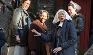Jenny Agutter (second from right) and fellow cast members on the set of Call the Midwife in 2012.
