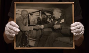 """A photo of US President Dwight Eisenhower and Churchill with dedication: """"for Christopher Soames, with personal regards, Dwight Eisenhower """""""