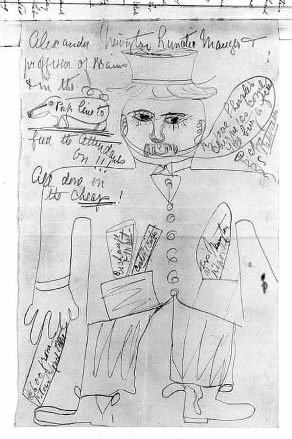 Portrait of Dr Alexander Newington, 1891, by a patient at Ticehurst House asylum. Pencil drawing.