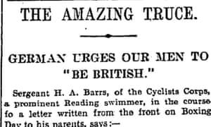 First world war Christmas truce, Manchester Guardian 4 January 1915