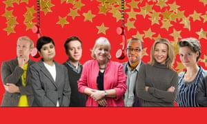 Some of the Guardian and Observer people on the telethon team (L to R): Stuart Heritage, Shami Chakrabarti, Owen Jones, Polly Toynbee, Hugh Muir, Jess Cartner-Morley and Jack Monroe.