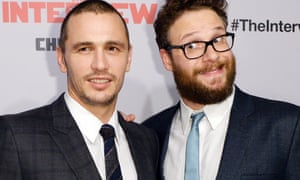 Cast members James Franco, left, and Seth Rogen at Los Angeles premiere of  The Interview.