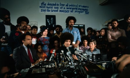 Davis gives her first news conference after being released on bail, 1972.