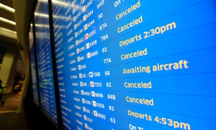 Flights were cancelled at San Francisco because of storms – but not because of problems at Heathrow.
