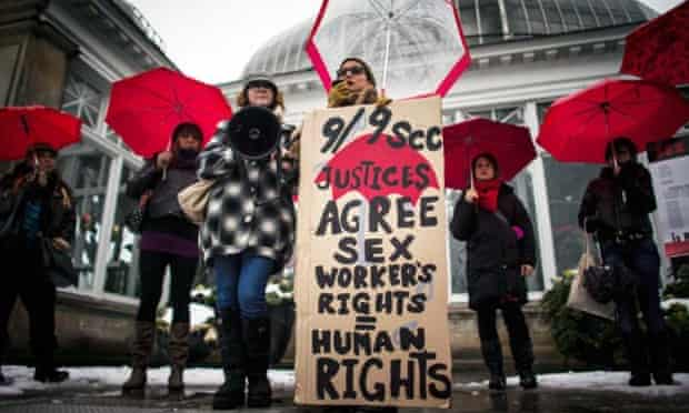 A rally to support Toronto sex workers and their rights.