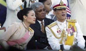 Princess Srirasm with Crown Prince Vajiralongkorn (right).