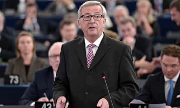 EU commission chief Jean-Claude Juncker speaks at the European Parliament in Strasbourg.