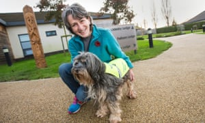 Marion Janner, founder of Star Wards, and her dog Buddy at Harrison House in Grimsby