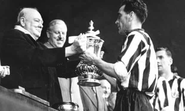 Winston Churchill awards the FA Cup