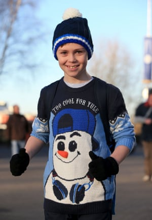 Leicester City fan Josh Butters sporting a rather snazzy christmas jumper