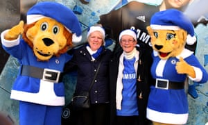 Stamford the Lion and Bridget the Lioness have donned Santa outfits but like Leicester Chelsea have eschewed the traditional red for blue