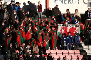 A contingent of the Cardiff fans donned elf outfits for the trip to the south coast
