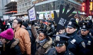 Protestors march in New York