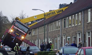 Crane crashes into house in  Usselstein, central Netherlands