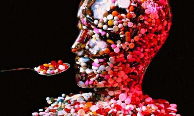 Glass head full of pills