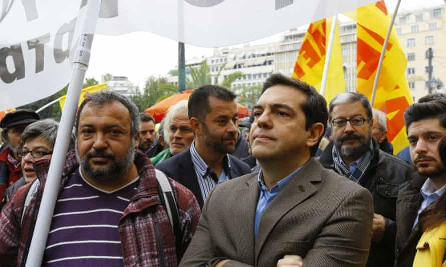 Alexis Tsipras, the leader of Syriza, during a protest.