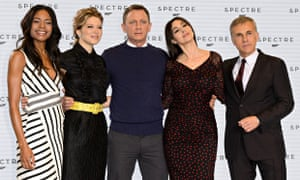 Bond's buds ... Naomie Harris, Léa Seydoux, Daniel Craig, Monica Bellucci and Christoph Waltz at a Spectre photocall