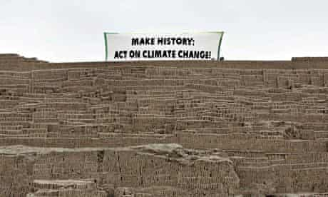 'Make history: act on climate change': message for Cop 2o delegates, on the summit of the Huaca Pucl
