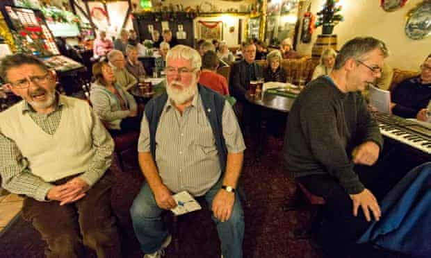 Carol singing Sportsman Inn at Lodge Moor, west of Sheffield