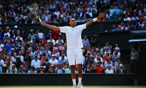 Nick Kyrgios celebrates after defeating Rafael Nadal on day eight of Wimbledon.