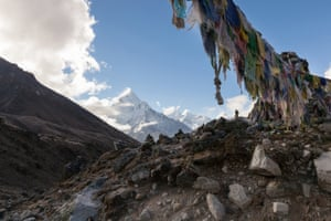 Lobuche- Lobuche memorial site for mountaineers who died whilst attempting to make the summit of the surrounding mountains. Before climbing people hang Buddhist prayer flags over the entrance for good luck and safe travels.