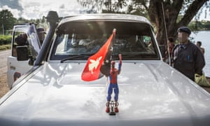 Papua New Guinean mobile squad police in Lorengau town, Manus Island