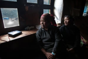 Pangboche, Khumbu region of the Himalayas-  Phura Gyalmu Sherpa and Tashidome Sherpa sit in their home in Pangboche. Dependant on their brother Phurba Ogyle Sherpa, 26, for money, his death has effected them financially, having nobody to support the family. Living on the moneyt he had left, they do not know how much longer this will last and worry about the future. Despite the government agreeing to provide approximately US$4000 compensation to the 16 families, none have received any financial support from the government or independent funds.