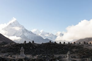 Lobuche.Stupa' s at the Lobuche memorial site, in honour of summiters who died. 2014 saw one of Everest  s biggest reordered disasters with the death of 16 Sherpas, as well as the recent tragedy during the peak of Octobers trekking season in the Annapurna region, where at least 39 people have been reported dead, and a further 200 unaccounted for.