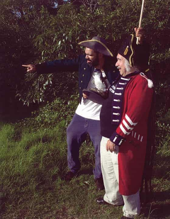 Artist Daniel Boyd and curator Djon Mundine in costume as part of a Bungaree artist workshop at Middle Head.
