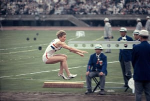 1964 Mary Rand In the Long Jump final at the 1964 Olympic games in Tokyo Mary Rand beat the favourite Tatyana Schelkanova of the USSR. Her first jump of 6.59m was a British record. However in the fifth round, on a wet runway with a headwind of 1.6 metres a second, she broke the world record, leaping 6.76m to take gold