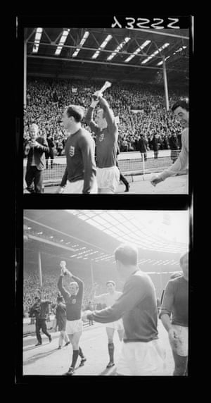 1966 Bobby Moore England captain Bobby Moore holds up the Jules Rimet trophy as he and his team-mates celebrate their 4-2 victory over West Germany in the 1966 World Cup Final