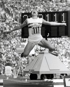 1972 Mary Peters Great Britain's Pentathlon gold medallist Mary Peters in action during the Long Jump event at the 1972 Olympic Games in Munich