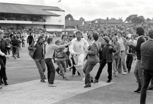 1981 Ian Botham In the 3rd Ashes Test against Australia at Headingley, England's Ian Botham returns to the pavilion on 145 not out. The combination of Botham's batting and Bob Willis's bowling sealed a remarkable 18-run win which signalled an about turn in the series which England went on to win 3-1