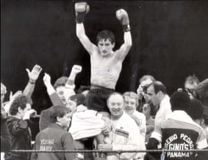 1985 Barry McGuigan  Manager Barney Eastwood (front centre) holds aloft his fighter Barry McGuigan after he became World Champion with a 15-round points win over Eusebio Pedroza in their World Featherweight Title fight at Loftus Road London