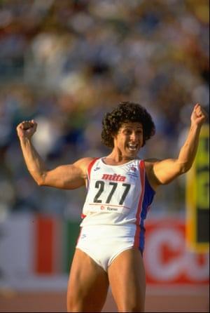 1987 Fatima Whitbread  Great Britain's Fatima Whitbread celebrates winning the gold medal in the Javelin event at the 1987 World Championships in Rome