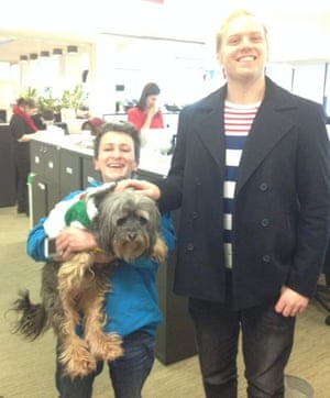Buddy hanging out with Marion and Stuart in the newsroom