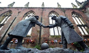 Liverpool, UK A resin model of a sculpture by Andrew Edwards, showing the WW1 Christmas Truce football match inside the remains of St Luke's Church, which suffered bomb damage during WW2 and stands as a permanent monument to those who died in the 1941 Blitz