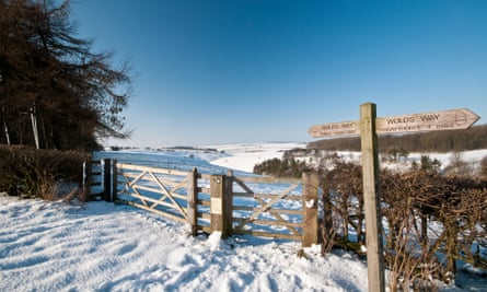 Snowy escape: the Wolds Way signposted just outside Huggate in East Riding.