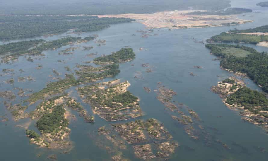 Aerial view of the Belo Monte Dam construction site. Belo Monte is a controversial hydropower plant that is being built in the Xingu River, one of the largest rivers in the Amazon basin.