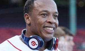 Dr. Dre sports his Beats headphones before the Boston Red Sox take on the the New York Yankees.