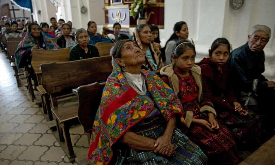 old woman in church Guatemala