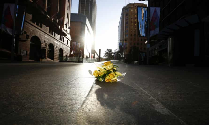 A bouquet at the scene of the Sydney siege.