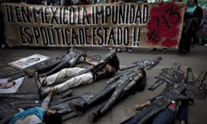 Activists protest in Mexico City over the missing 43 students