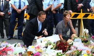 Tony Abbott and Margie Abbott at Martin Place siege memorial