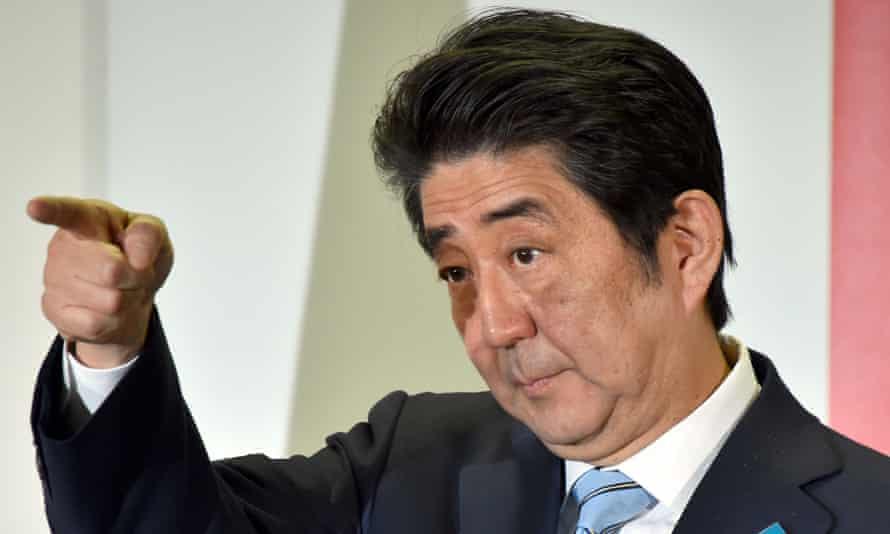 Shinzo Abe has restate his aim of watering down Japan's pacifist constitution.