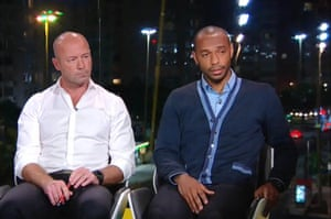 Thierry Henry (R) commentating during England v Italy world cup match 2014